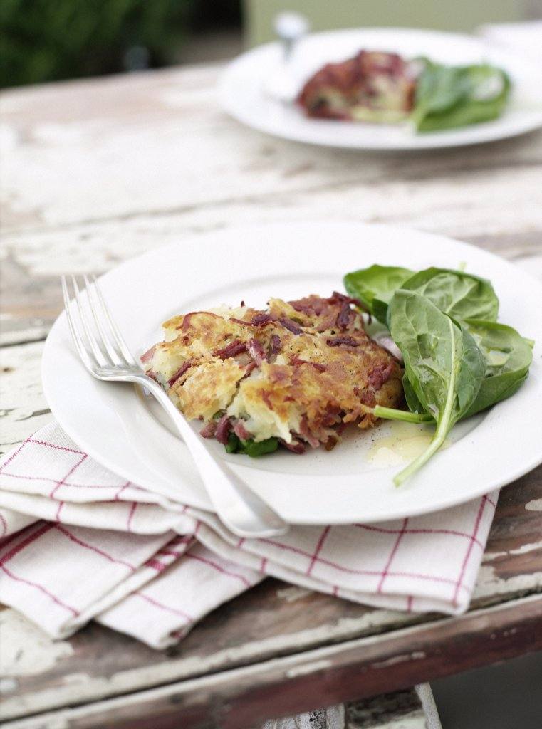 CornHashbrown10.jpg, English Spinach Olive Oil Dressing, Pepper, Corned Beef, Potato Rosti : Stock Photo