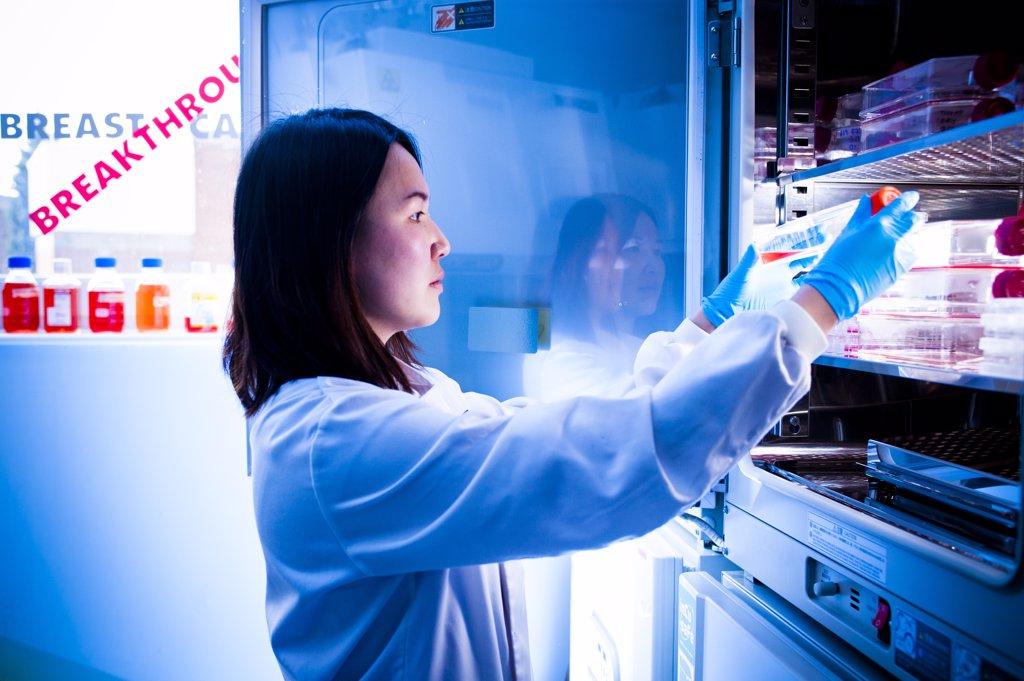 Scientist using equipment in lab : Stock Photo