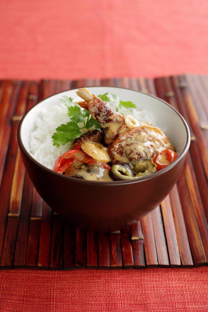 DuckRedCurry_0001, Duck Leg, Coriander, Jasmine Rice, Curry Sauce, Red Pepper, Cherry Tomato, Eggplant, Bamboo, Spring Onion : Stock Photo
