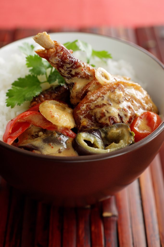 DuckRedCurry_0006, Duck Leg, Coriander, Jasmine Rice, Curry Sauce, Red Pepper, Cherry Tomato, Eggplant, Bamboo, Spring Onion : Stock Photo