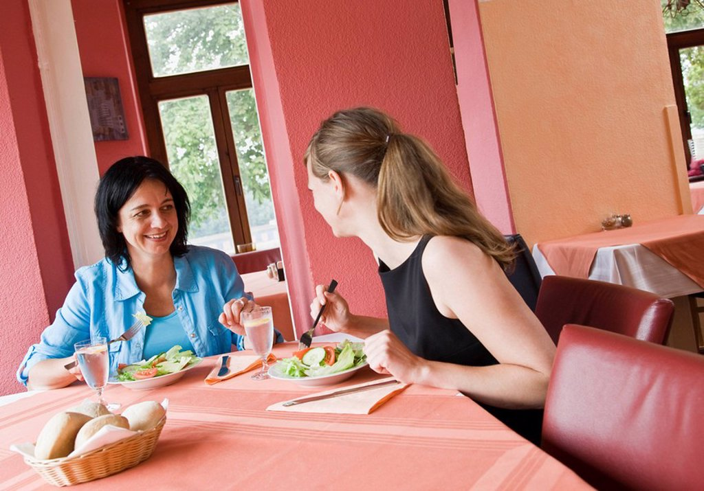 Stock Photo: 1773R-104015 Women talking over a meal