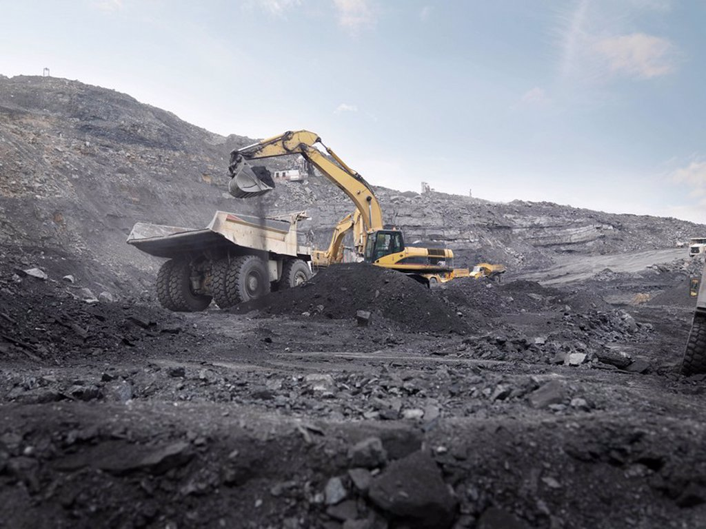 Digger Working In Coal Mine : Stock Photo
