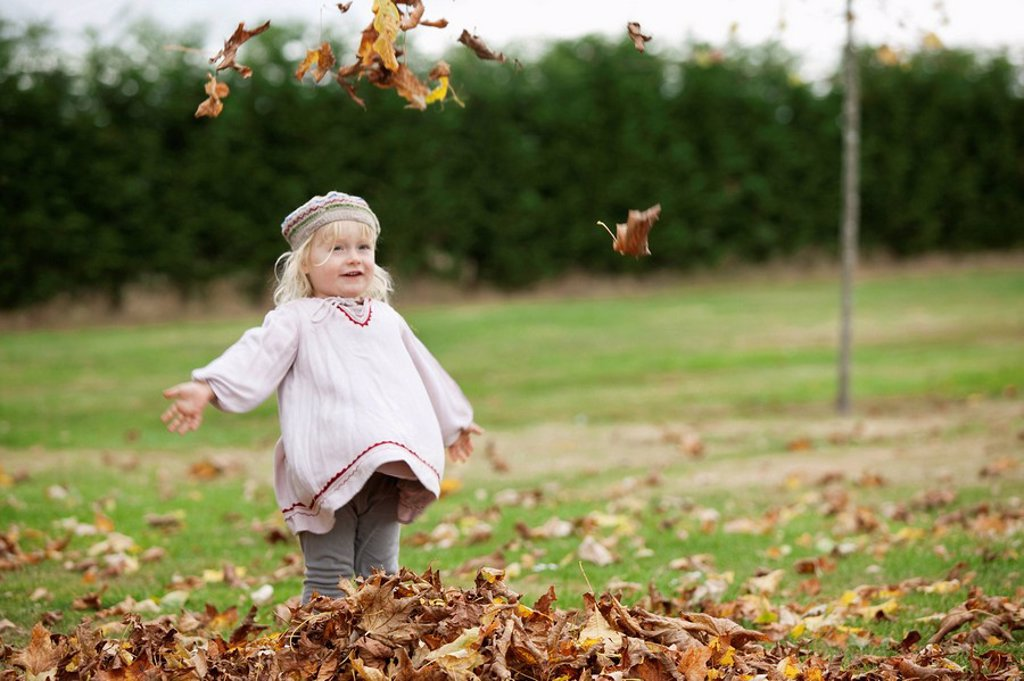Stock Photo: 1773R-124179 Little girl throwing leaves in the air