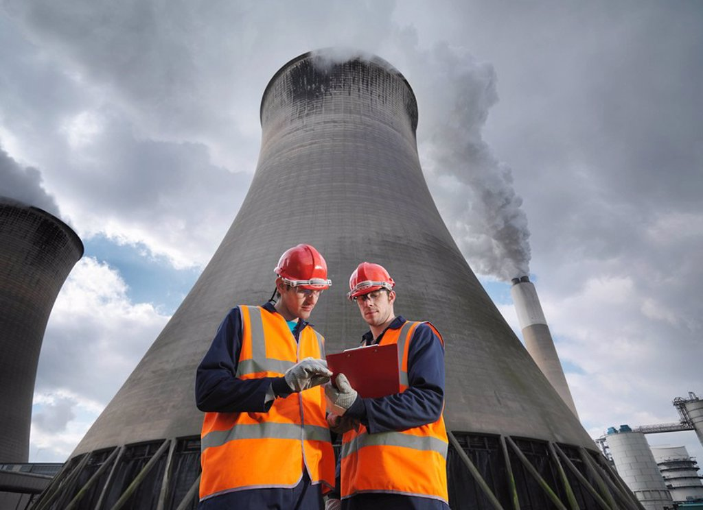 Workers At Coal Fired Power Station : Stock Photo