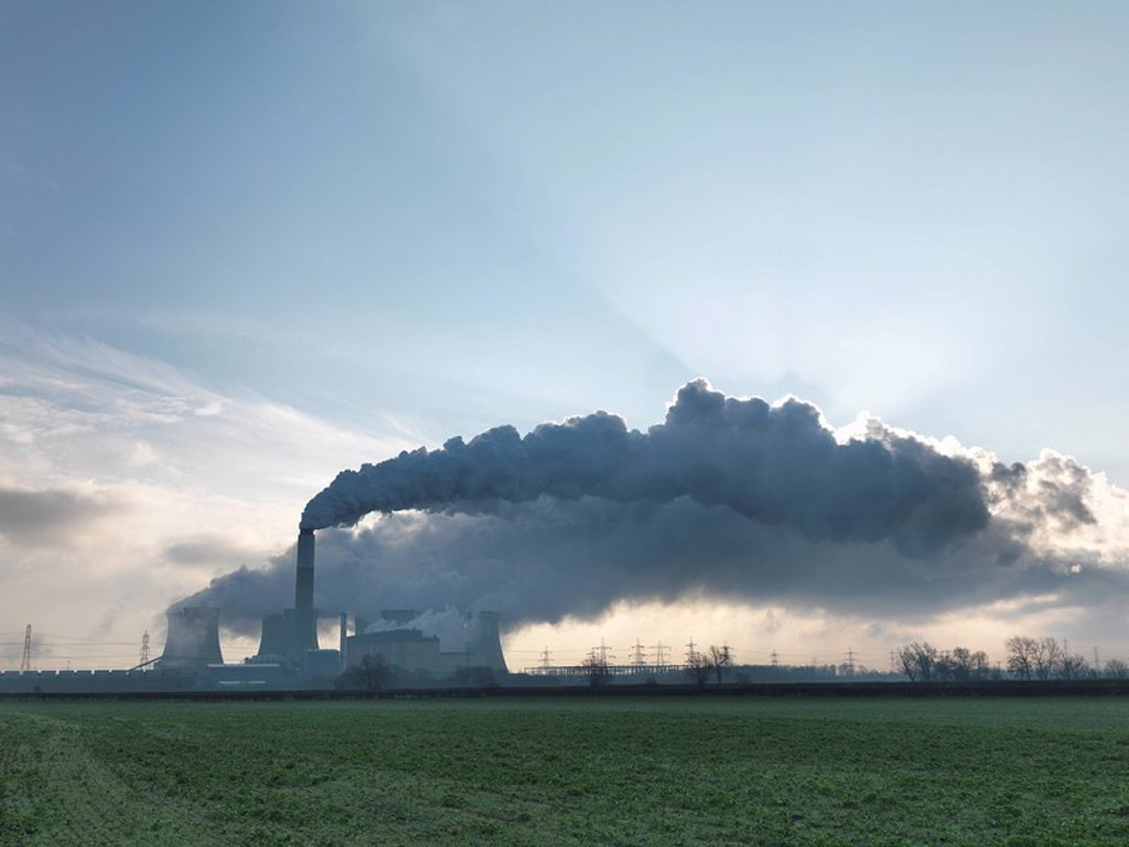 Stock Photo: 1773R-125724 Wide View Of Coal Fired Power Station