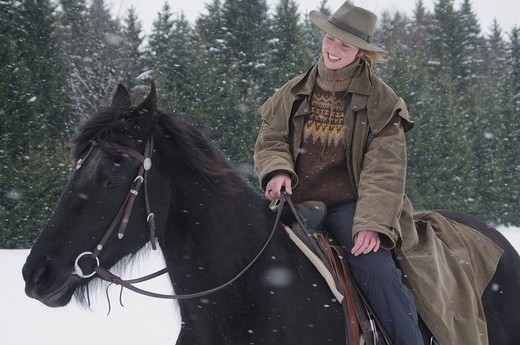 Riding horses in Winter : Stock Photo
