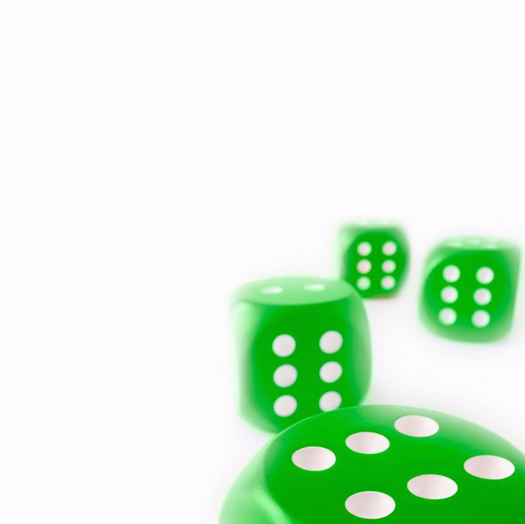 Stock Photo: 1773R-127226 Green Dice all with sides of sixes
