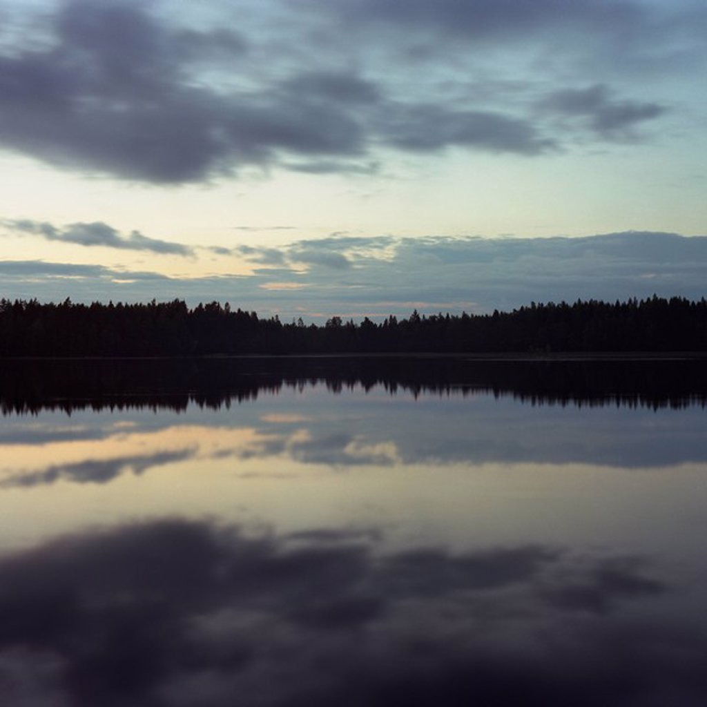Sky and trees reflected in lake at night : Stock Photo