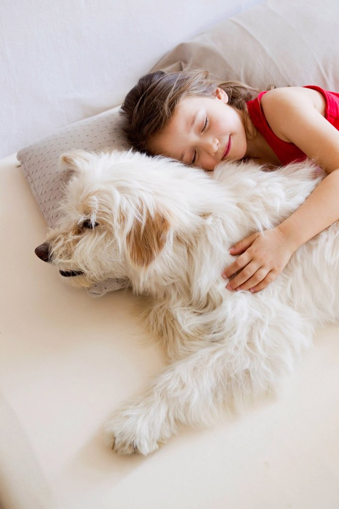 Stock Photo: 1773R-155638 Girl relaxing with dog in bed