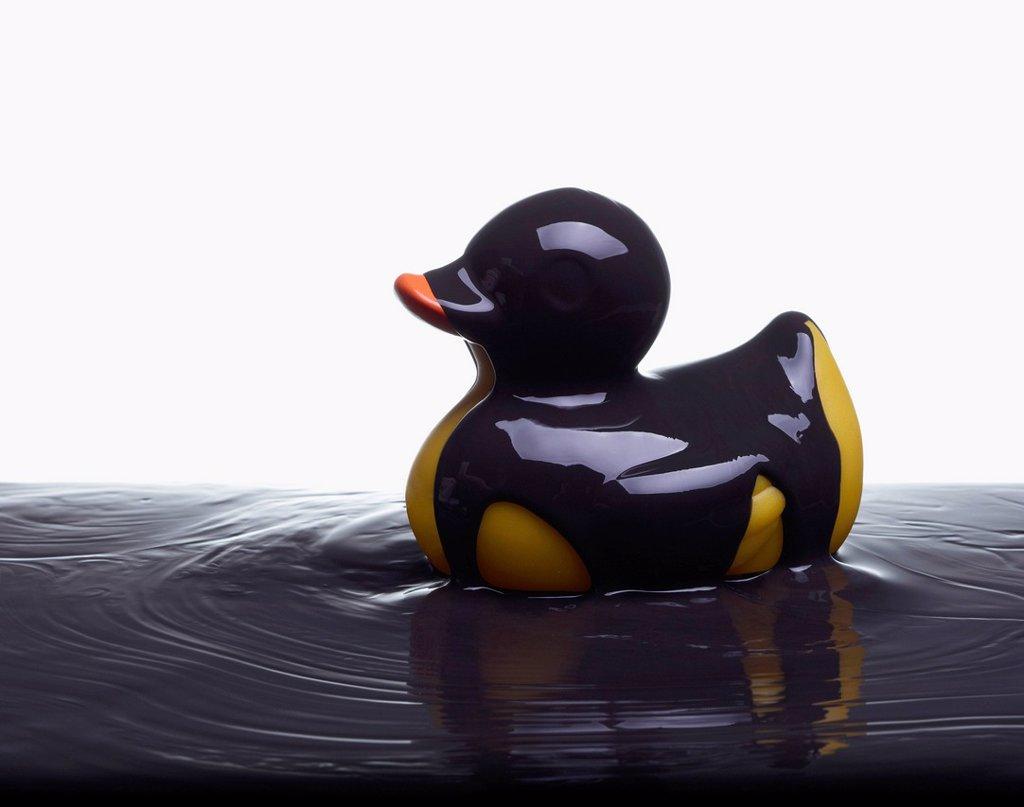 Rubber duck covered in oil : Stock Photo