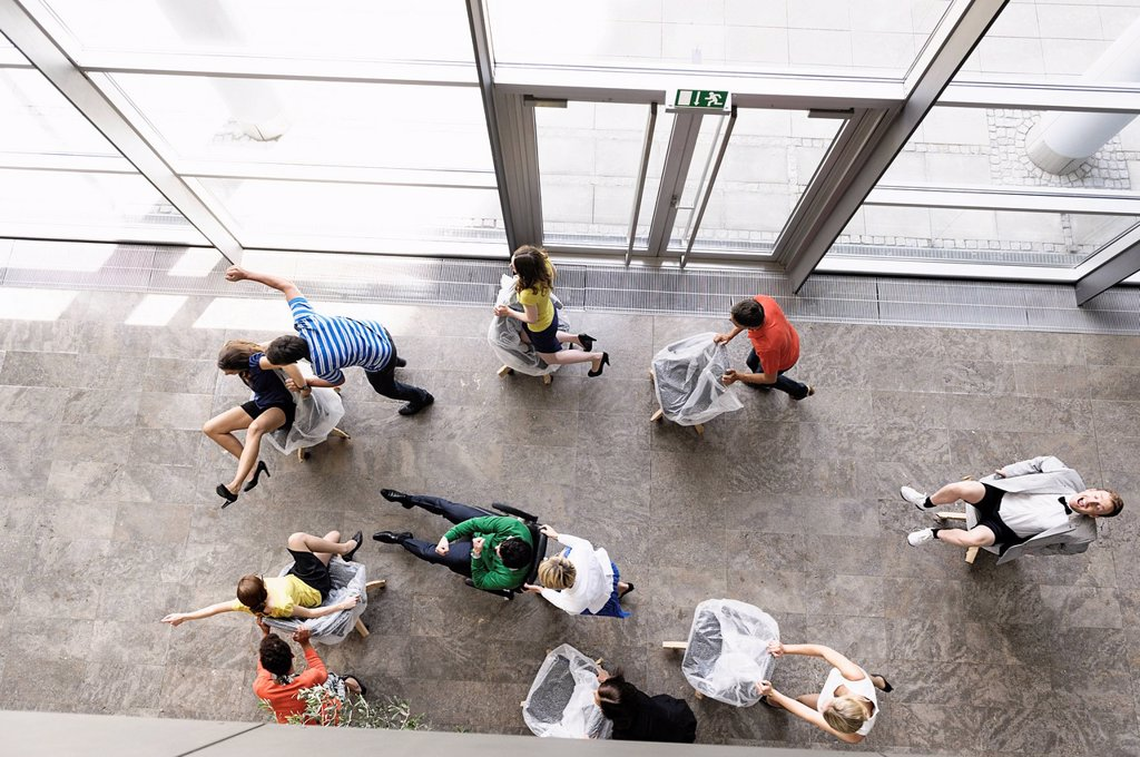 Stock Photo: 1773R-172779 Business people playing in new office