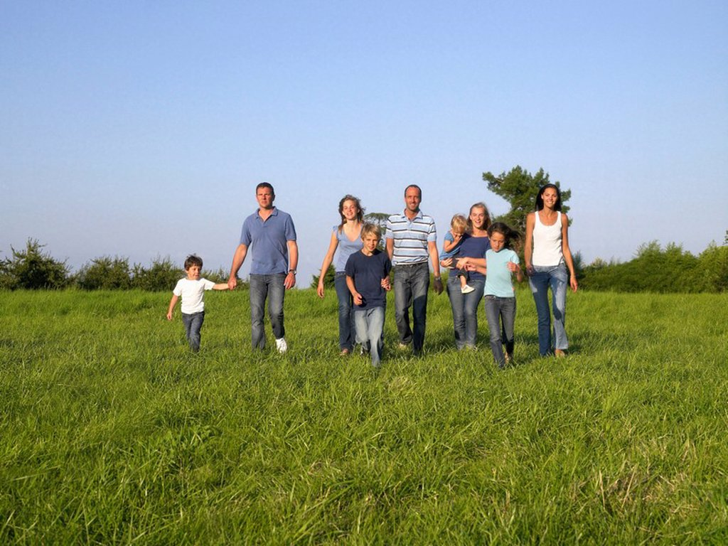 Group of people and children running : Stock Photo