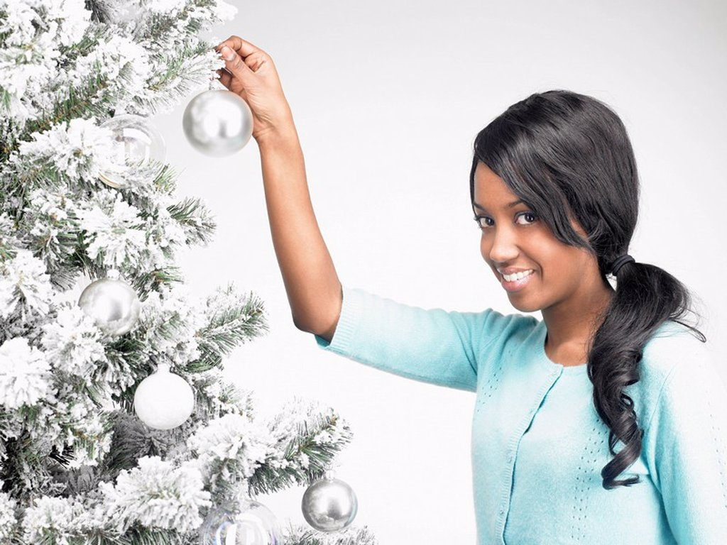 Stock Photo: 1773R-177967 Woman hanging Christmas decoration