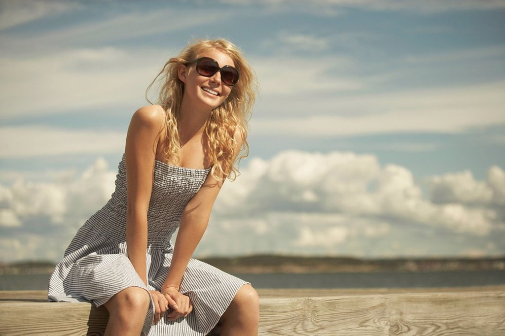Young Woman in summer dress : Stock Photo