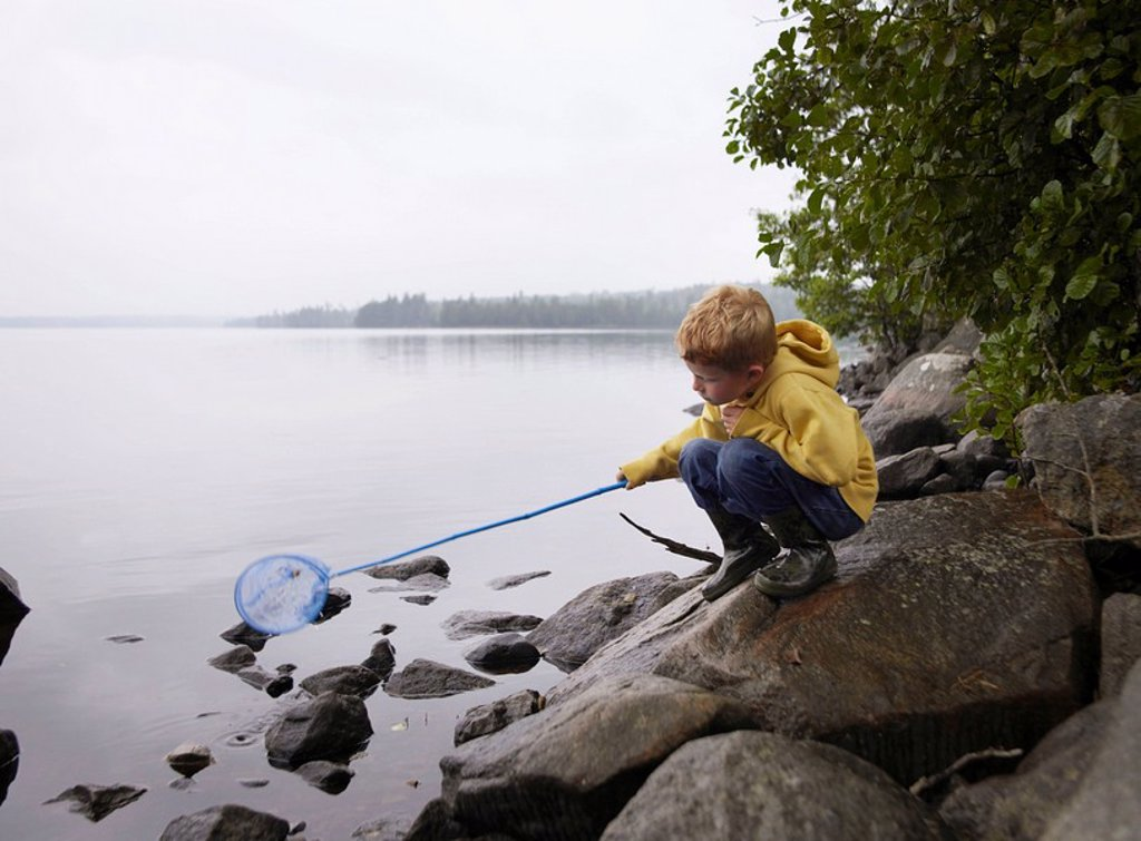 Young boy crouched on rocks fishing in a lake with a net : Stock Photo