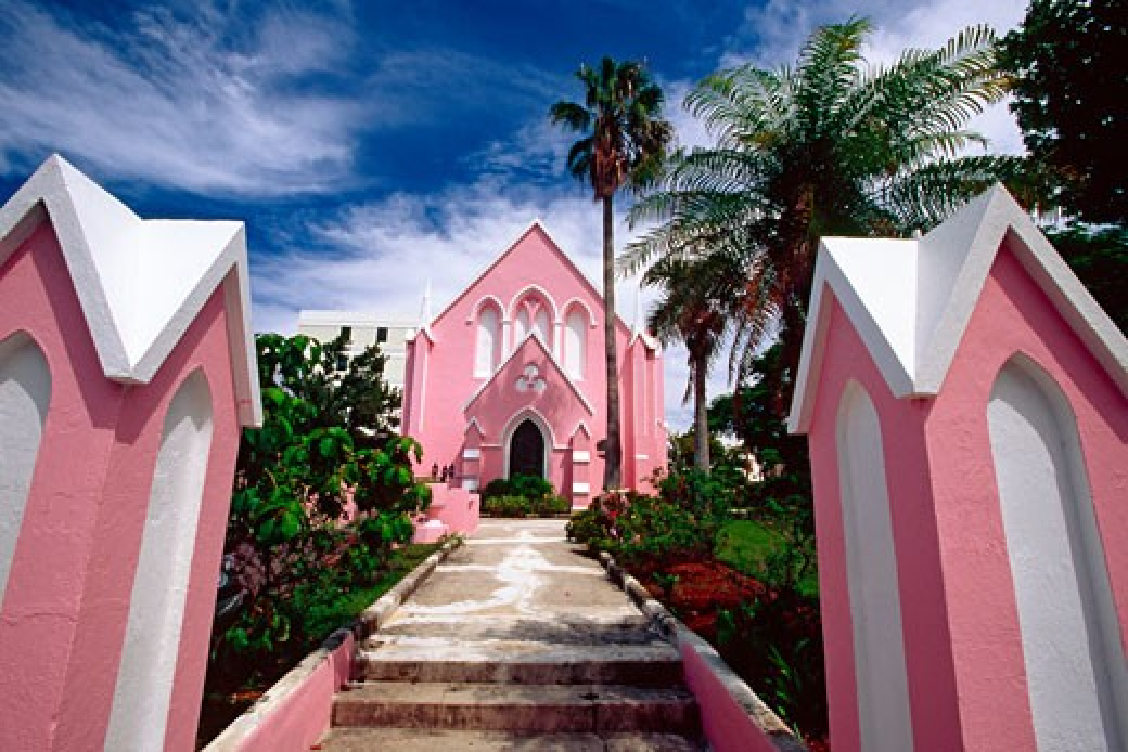 Stock Photo: 1774-191 View of a Pink Church,St Andrew's Presbyterian Church, Hamilton, Bermuda
