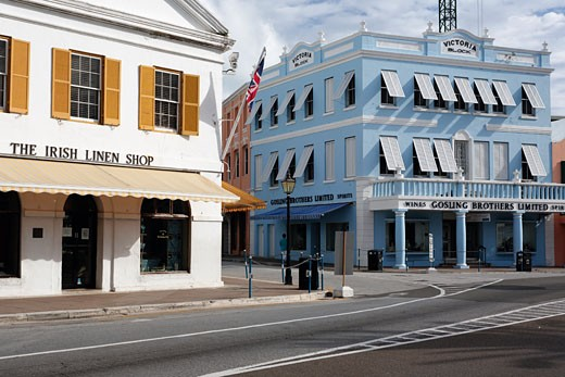 Stock Photo: 1774-194 View of Main Street with Colorful Victorian Styla Buildings, Hamilton, Bermuda