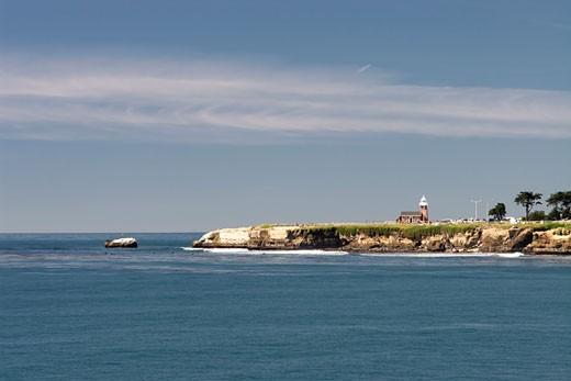 Stock Photo: 1774-200 View of the Surfer's Point with a Lighthouse, Santa Cruz, California, USA