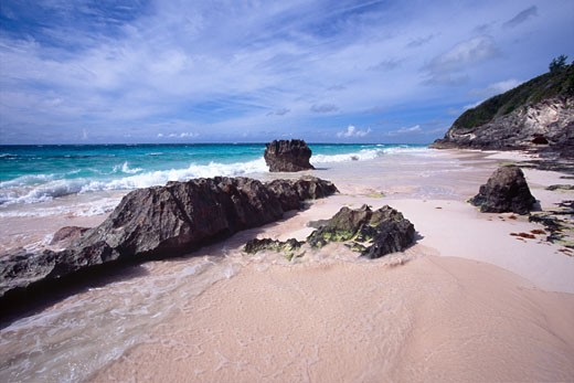Stock Photo: 1774-210 Rock formations on the beach, Elbow Beach, Bermuda