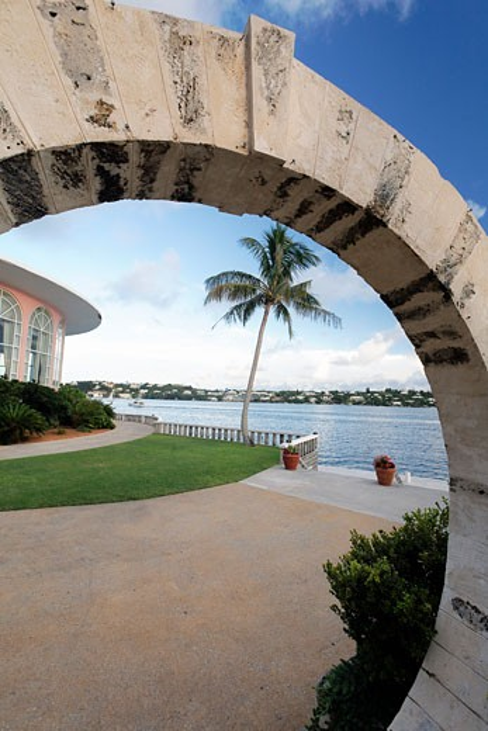 View of harbor through a moon gate, Hamilton Harbor, Hamilton, Bermuda : Stock Photo