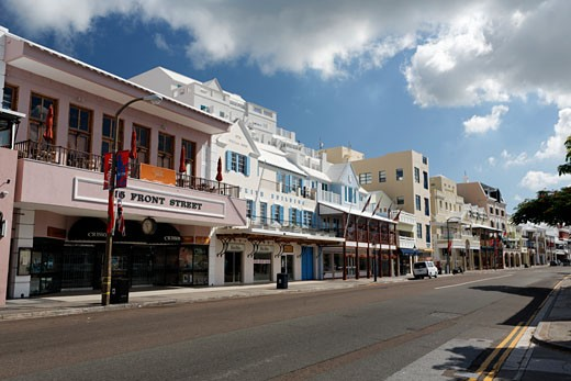 Stock Photo: 1774-216 Buildings along a street, Front Street, Hamilton, Bermuda