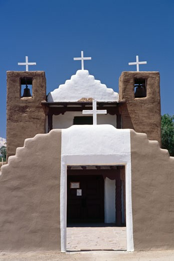 Stock Photo: 1774-240 Facade of a church, San Geronimo Church, Taos Pueblo, New Mexico, USA