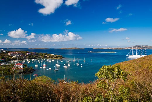 Aerial view of boats in the sea, Cruz Bay, St. John, US Virgin Islands : Stock Photo