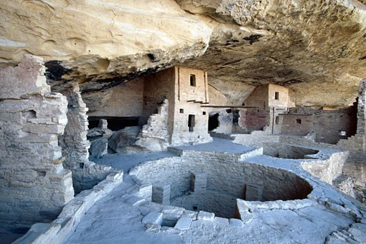 Stock Photo: 1774-259 Wide Angle Full View of the Balcony House Cliff Dwelling, Mesa Verde Natioanl Park, Colorado