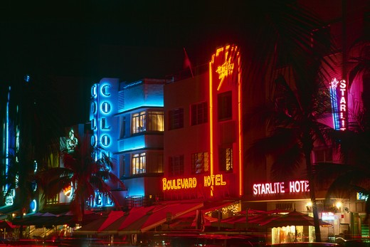 Hotels with Neon Lights, Ocean Boulevard, Miami Beach, Florida, USA : Stock Photo