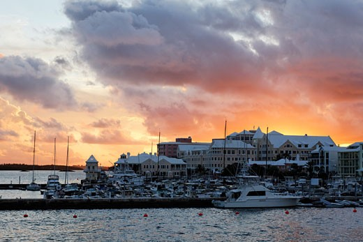 Bermuda, Sunset View of Hamilton Bay : Stock Photo