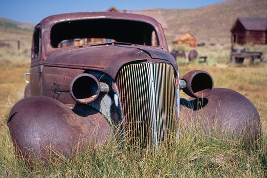 Frontal Close Up View of an Antique Car Body,  Bodie, California, USA : Stock Photo