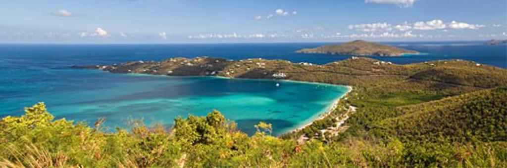 Panoramic Aerial View of Magens Bay, St Thomas, US Virgin Islands : Stock Photo