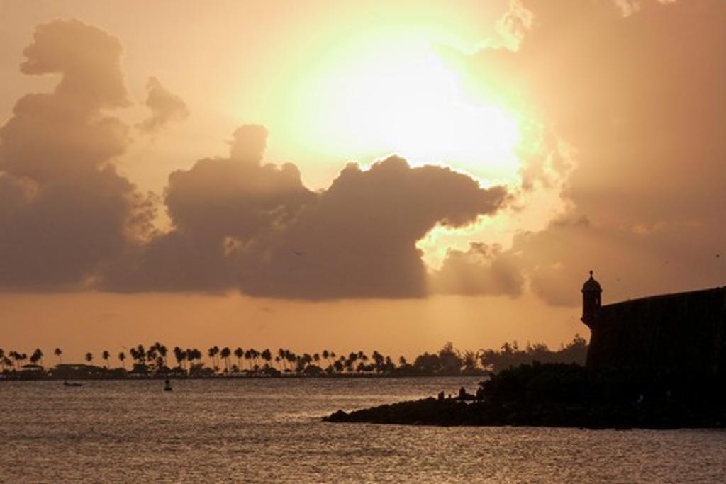 Stock Photo: 1774-382 Ocean at sunset, San Juan Bay, San Juan, Puerto Rico
