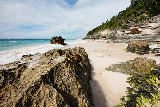 Stock Photo: 1774-402 Rock Formations on the Beach, Elbow Beach, Bermuda