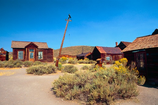 Prospect and Union Street Corner, Bodie State Historic Site, California, USA : Stock Photo
