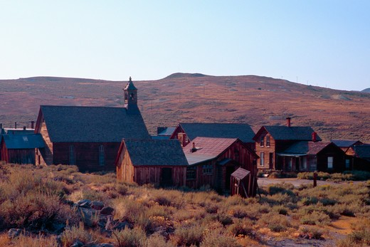 Group of Abandoned Buildings, Bodie State Historic Park, California, USA : Stock Photo