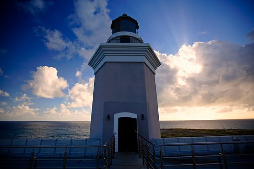 Stock Photo: 1774-449 Lighthouse Tower Against Dramatic Sky, Cabo Rojo, Puerto Rico