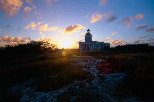 Cabo Rojo Lighthouse at Sunset. Puerto Rico : Stock Photo