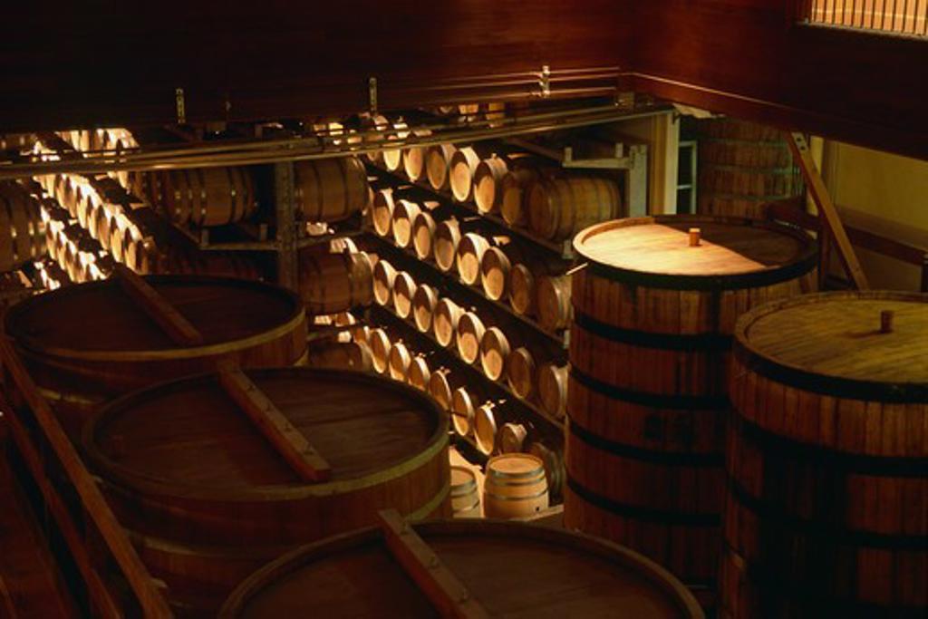 Oak barrels in a cellar, Sterling Vineyards, Calistoga, California, USA : Stock Photo