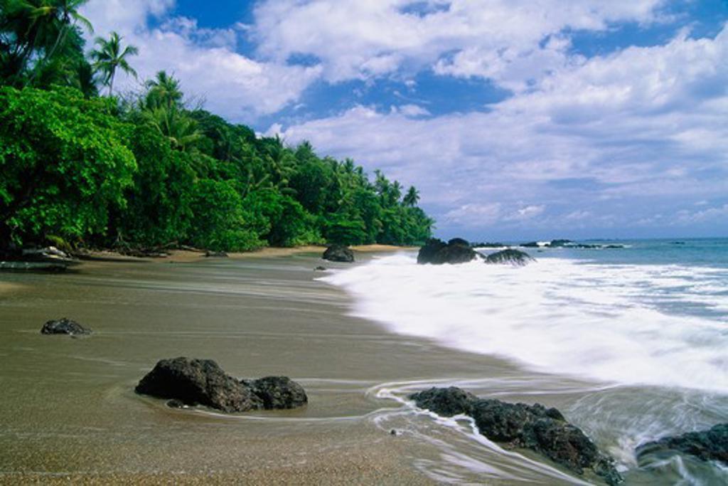 Stock Photo: 1774-664 Surf on the beach, Corcovado National Park, Osa Peninsula, Puntarenas Province, Costa Rica
