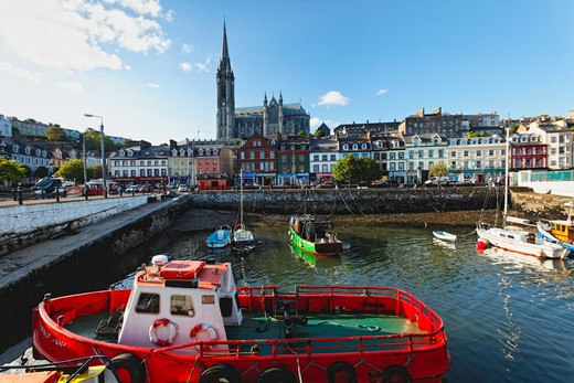 Stock Photo: 1774-665 Cathedral in a town, St. Colman's Cathedral, Cobh, County Cork, Munster, Republic of Ireland