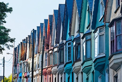Multi-Colored houses in a row in a town, Cobh, County Cork, Munster, Republic of Ireland : Stock Photo