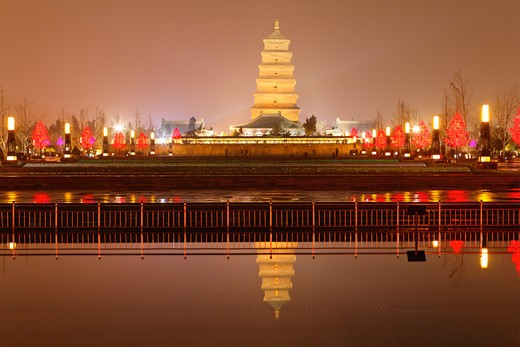 Stock Photo: 1774-673 Reflection of a pagoda in a lake, Giant Wild Goose Pagoda, Xi'an, Shaanxi Province, China