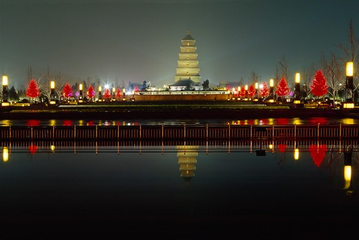 Reflection of a pagoda in a lake, Giant Wild Goose Pagoda, Xi'an, Shaanxi Province, China : Stock Photo