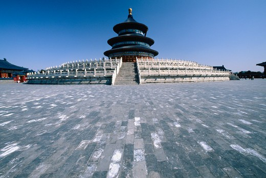 Facade of a temple, Hall Of Prayer For Good Harvests, Temple Of Heaven, Beijing, China : Stock Photo