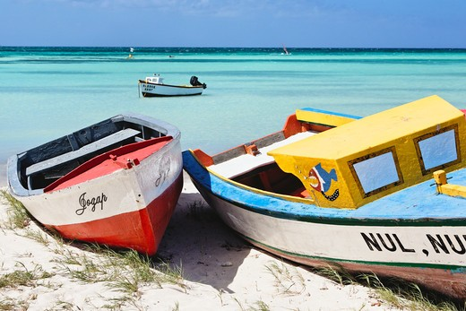Aruba, Colorful Traditional Fishing Boats on Eagle Beach : Stock Photo