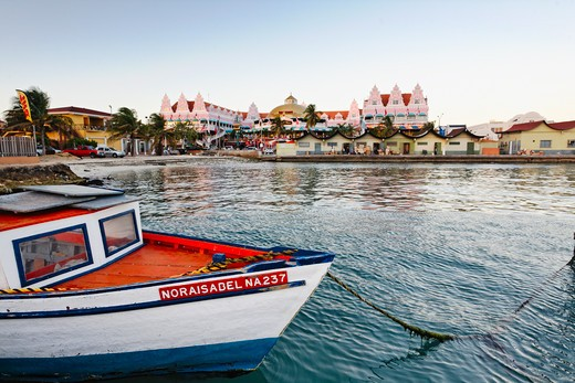 Aruba, Oranjestad Harbor View with Traditional Fishing Boat : Stock Photo