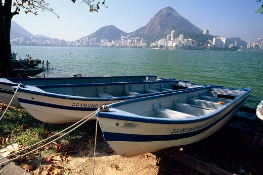 Brazil, Rio de Janeiro, Rodrigo de Freitas Lagoon, Fishing Boats on Shore : Stock Photo