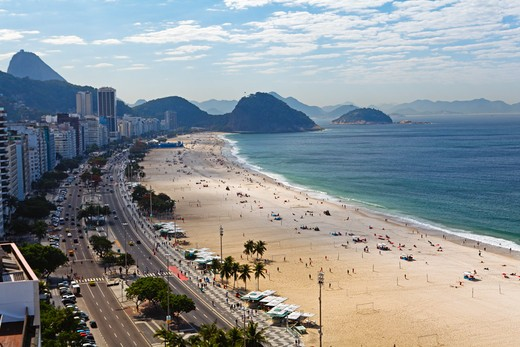 Brazil, Rio de Janeiro, Copacabana Beach, Elevated view : Stock Photo