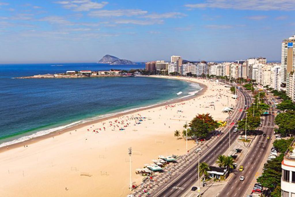 Brazil, Rio de Janeiro, Copacabana Beach, Aerial View : Stock Photo